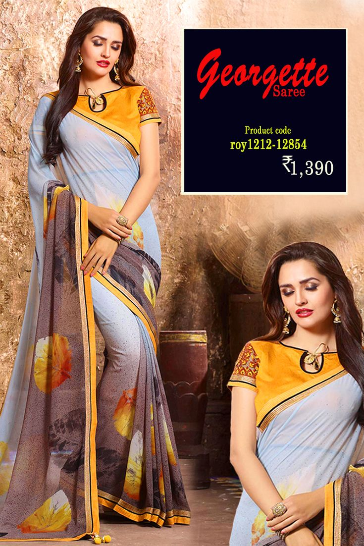 Grey Printed #GeorgetteSaree Flaunt your Charismatic instinct with this #designerprintedsaree from the house of #Amafhh. Perfect for any woman to flaunt their style in a perfect attitude and get complimented where ever you go. #womansari #shopping #ethnicwear #latestcollection #newdesigns #designersaree #onlineweddingwear #fashion #trending #thechoiceisyours