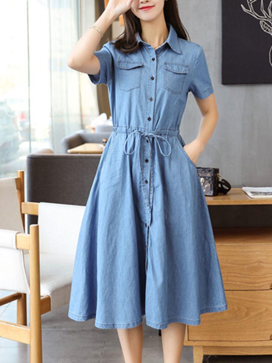 Turn down collar drawstring patchwork plain maxi dress style