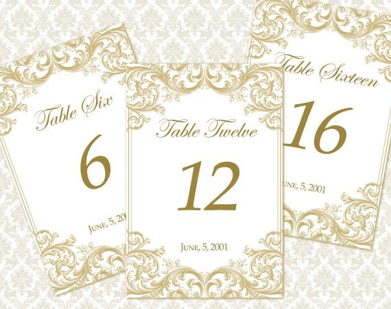 Diy printable wedding table number template printable table diy printable wedding table number template instant download victorian florals in gold maxwellsz