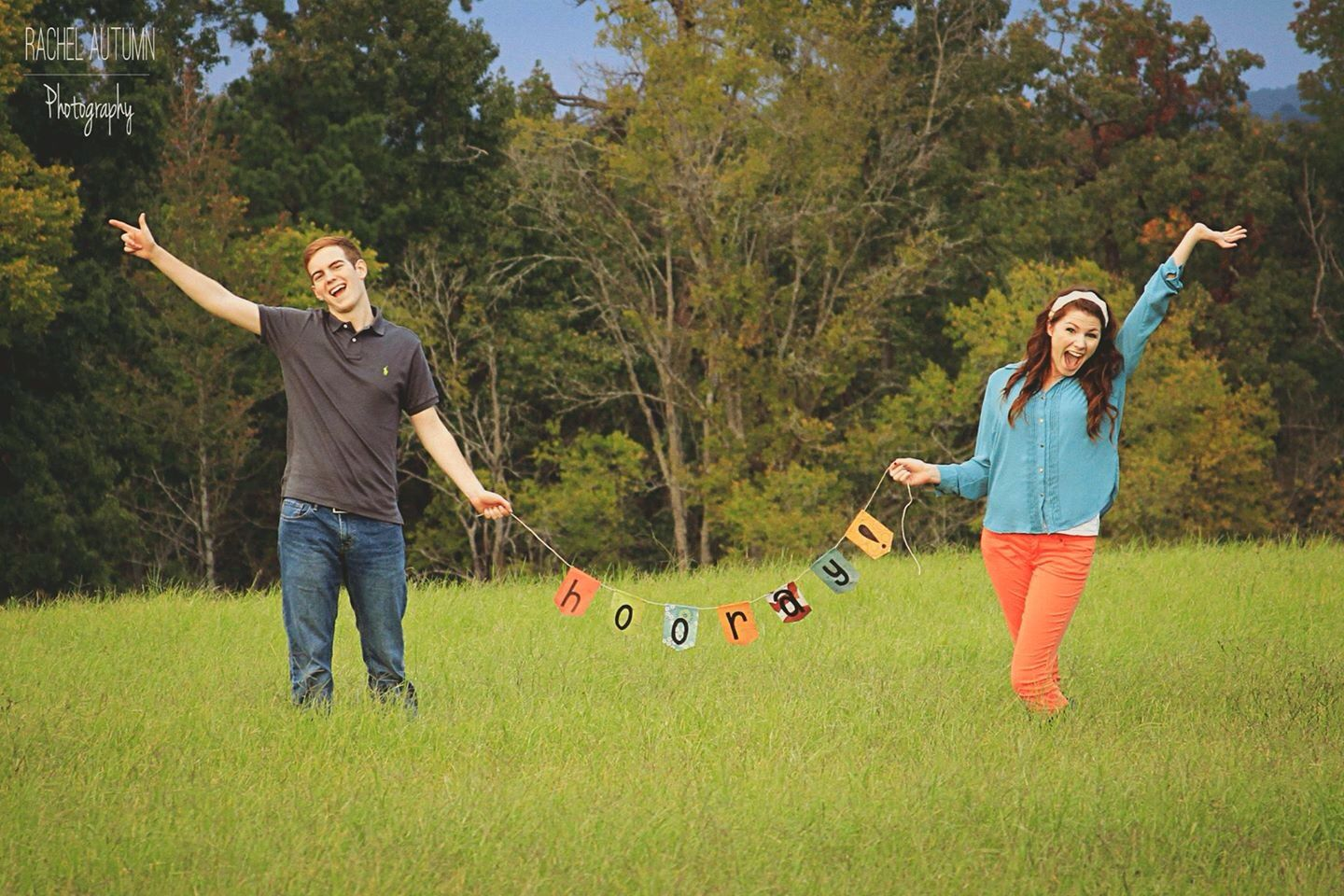 "Cute ""hooray"" prop banner engagement. Rachel Autumn Photography."