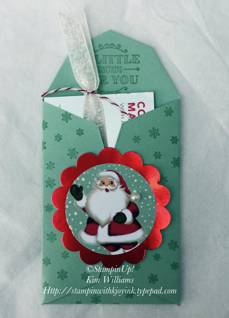 IMG_4327 Stampin Up! Gift Card framelits. Christmas gift card holder, handmade. Kim Williams. Visit my blog www.stampinwithkjoyink.typepad.com