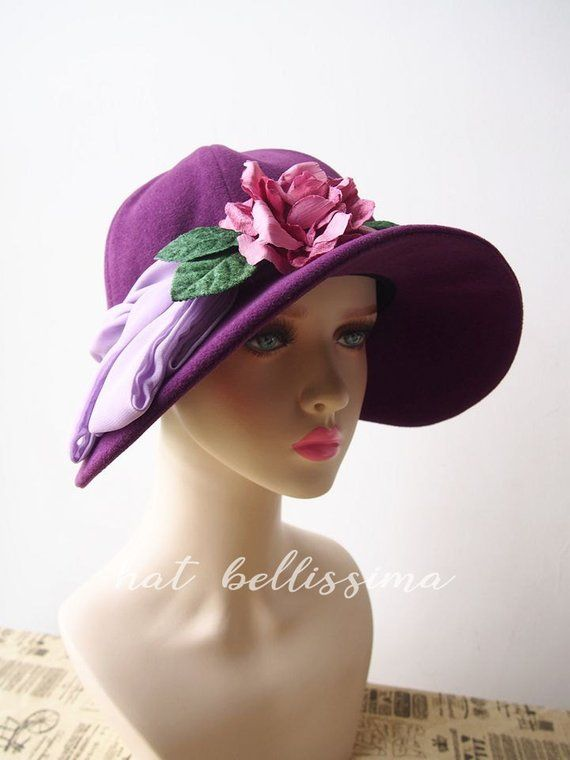 SALE Purple 1920 s Hat Vintage Style hat winter Hats hatbellissima ladies  hats millinery big brim 15358e4ab48