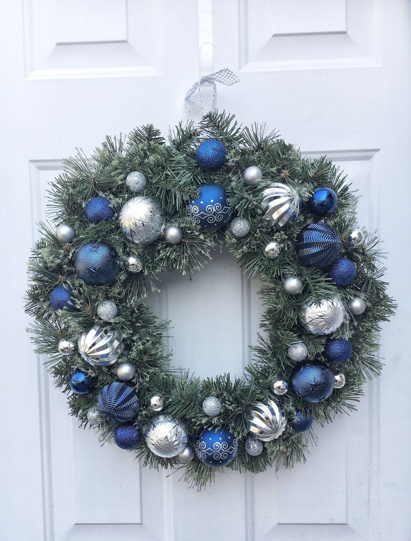 Blue And Silver Christmas Ornament Wreath Blue Holiday Door Hanger Christmas Fro Silver Christmas Ornaments Christmas Door Hanger Christmas Ornament Wreath