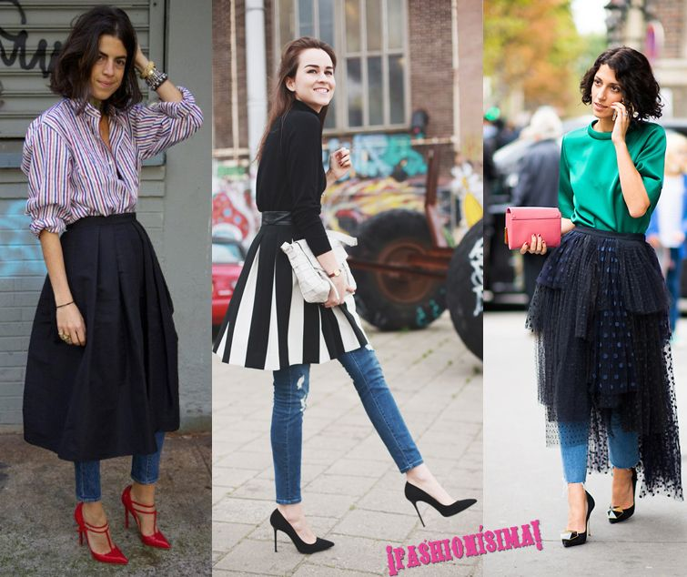 Full-skirts-with-jeans-trend