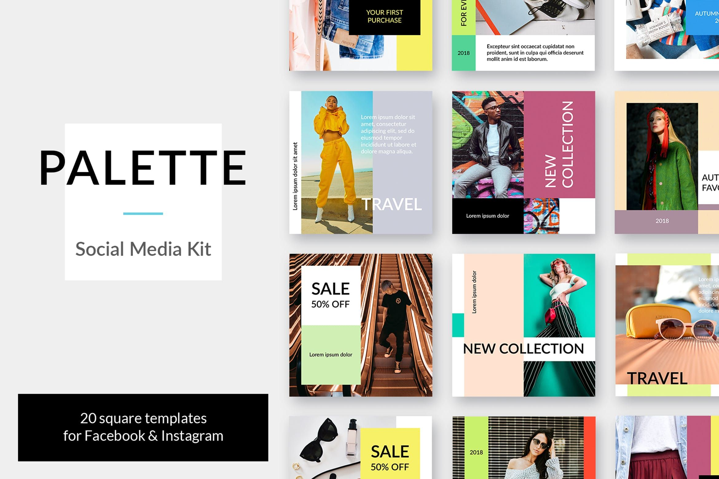 Palette Social Media Kit Instagram Facebook Pinterest Blog Smm Social Media Fashion Twitter M Media Kit Social Media Branding Social Media