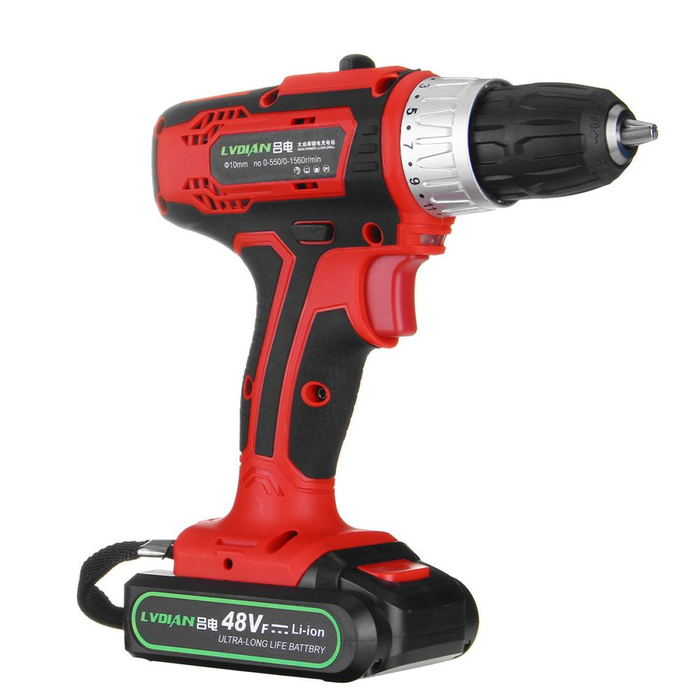 48v 2 Speed Cordless Rechargeable Battery Electric Screwdriver Power Drill Led Electric Screwdriver Power Drill Cordless Power Drill
