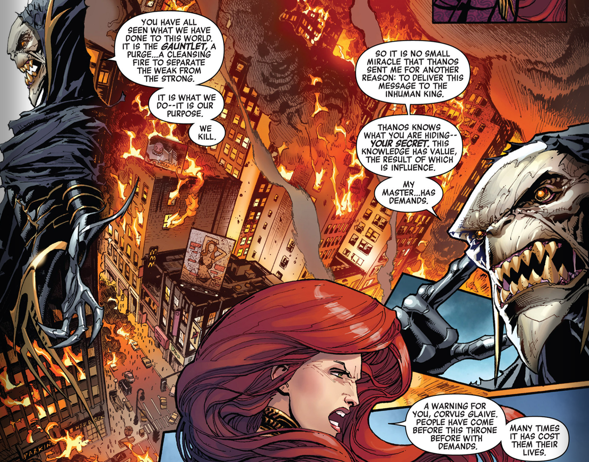 MIDTOWN COMICS IN THE MARVEL UNIVERSE!  Two weeks ago Infinity issue 2 was released and in side one of the first panels you see Medusa (one of Black Bolt's 5 wives) taking a challenge from one Thanos's lackey's… but if you look right behind Medusa's red hair you can see NYC is going ablaze but Mid Town Comics is still open and their iconic Classic Spider-Man sign still stands!
