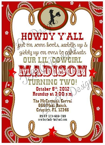 Digital Cowgirl Western Country Themed Birthday Party Invitation