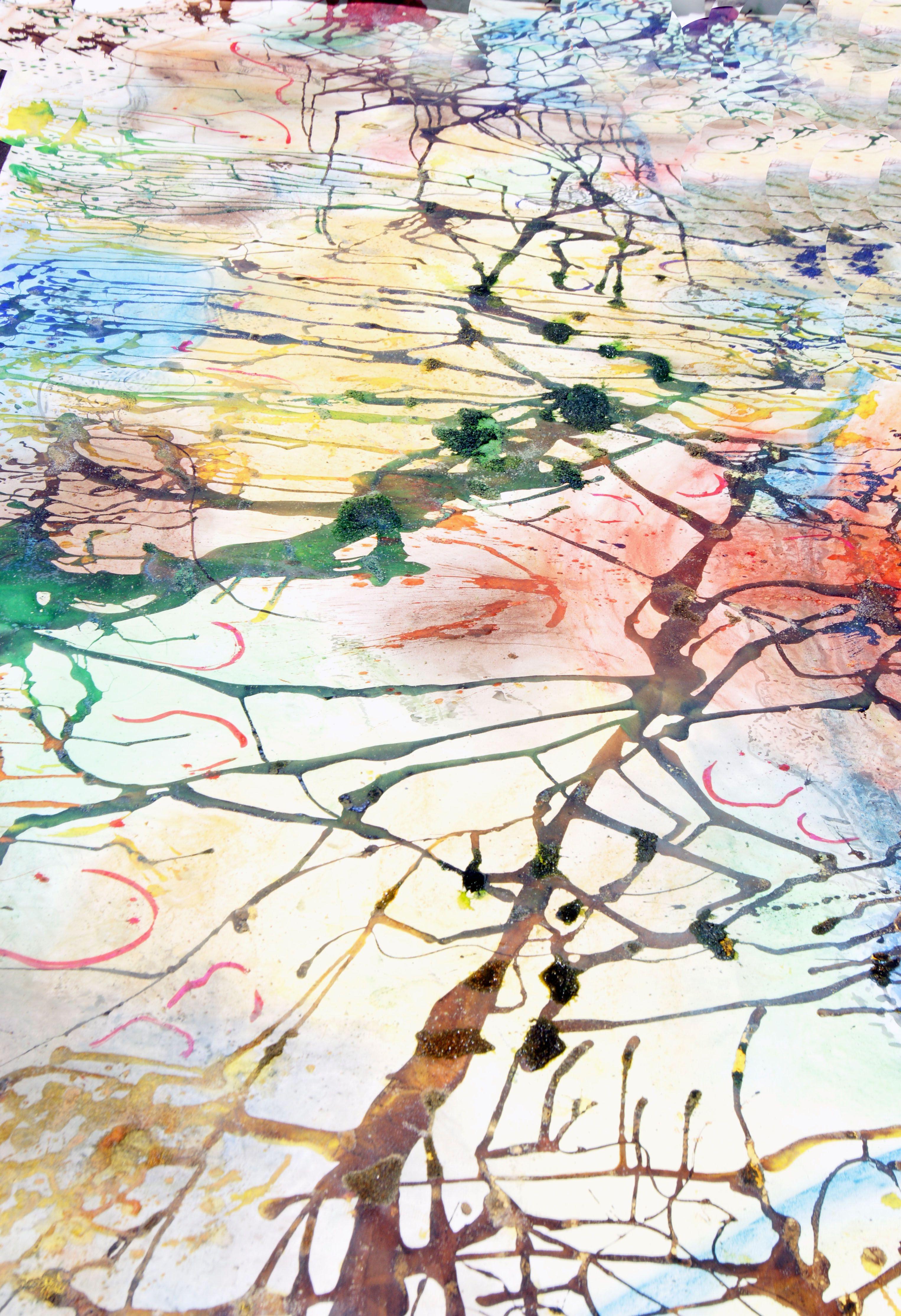 Pre-Kindergarten  4.5 meter mixed media work  inspired by John Olsen artworks. Pastel and ink. PYP Art Trinity Grammar School Sydney.