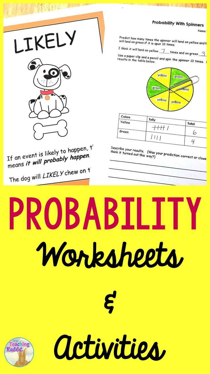 Probability Worksheets & Activities   Worksheets, Activities and Math