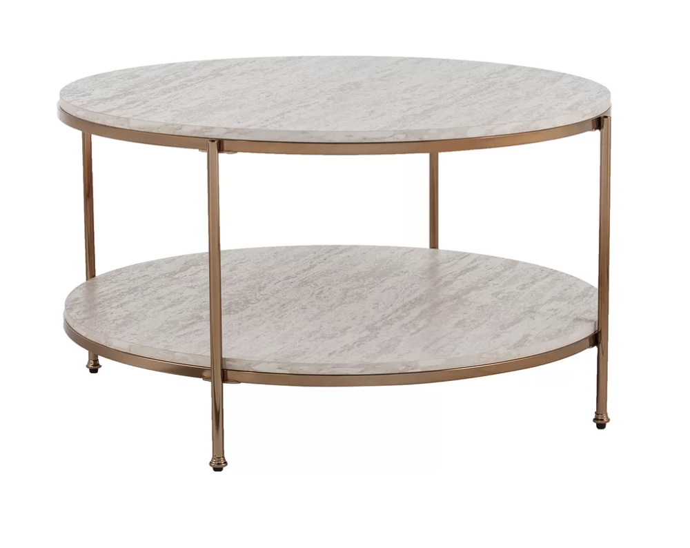 Mercer41 Stamper Coffee Table With Storage In 2021 Coffee Table Round Coffee Table Living Room Ottoman Coffee Table Decor [ 794 x 1000 Pixel ]