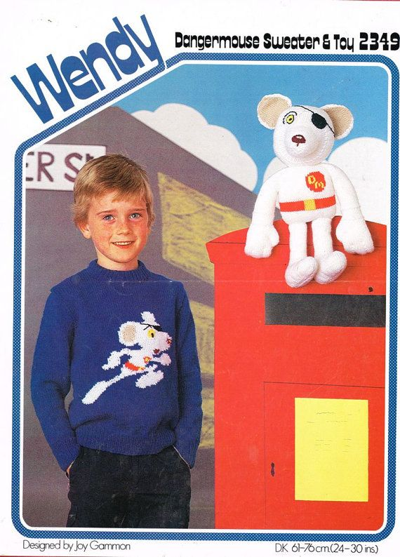 Wendy 2349 dangermouse sweater and toy vintage knitting pattern PDF instant download