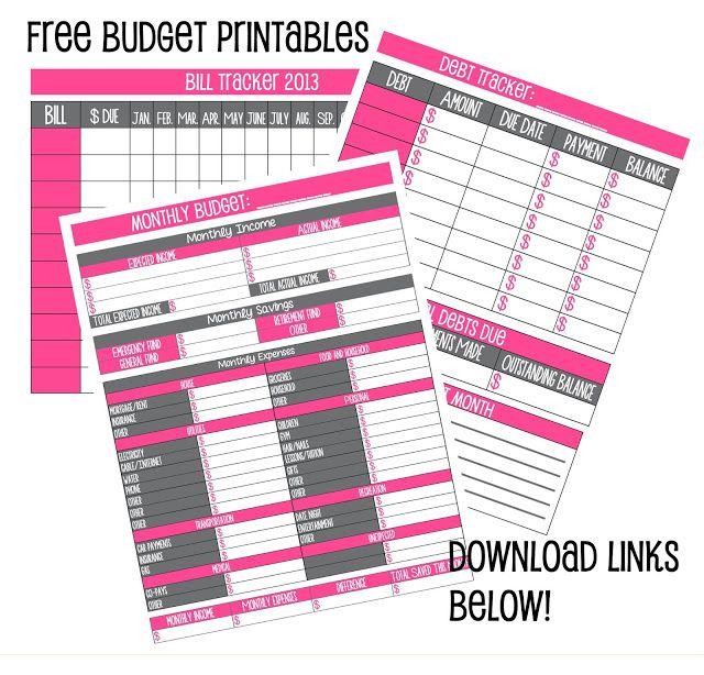 Free Budget Printables financial tips Pinterest Budgeting