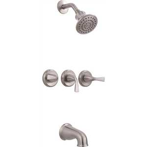 Xiamen Lota International Co Ltd 834cx 3004 Sanibel 3 Handle 1 Spray Tub And Shower Faucet In Brushed Nickel In 2020 Tub And Shower Faucets Shower Faucet Sets Shower Faucet