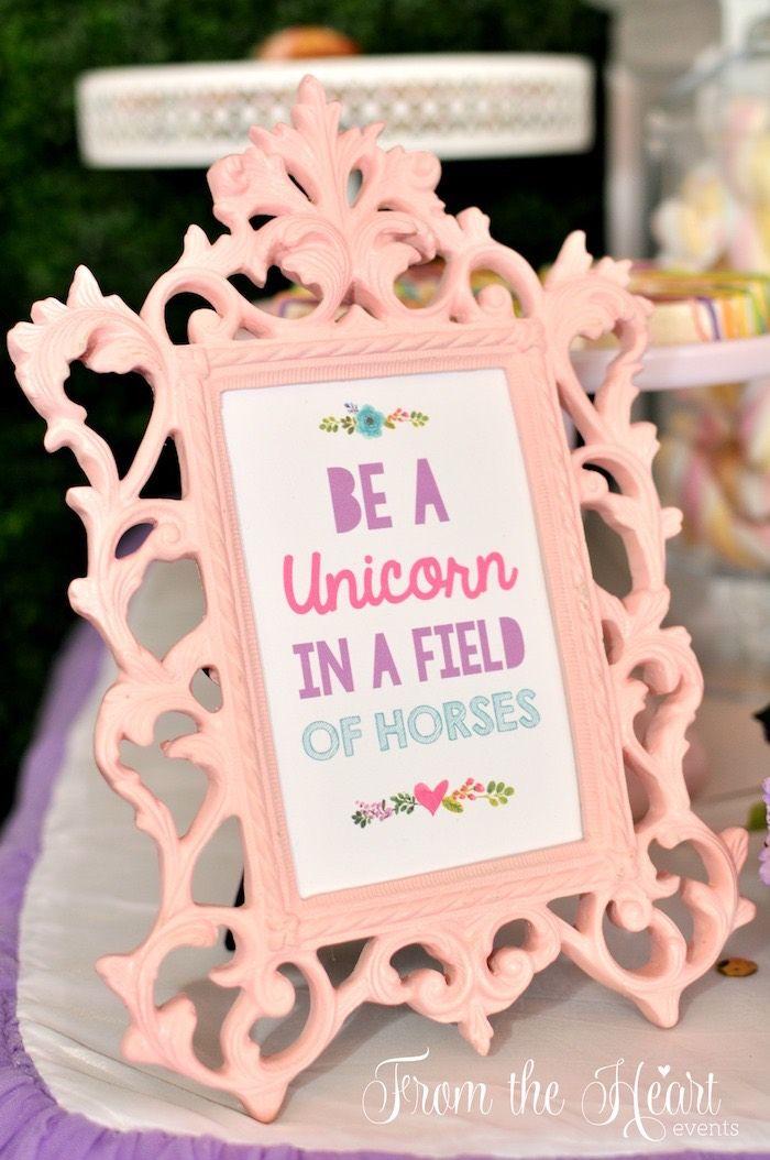 Rainbow party signage from  vibrant unicorn birthday on kara   ideas karaspartyideas also millie pinterest rh