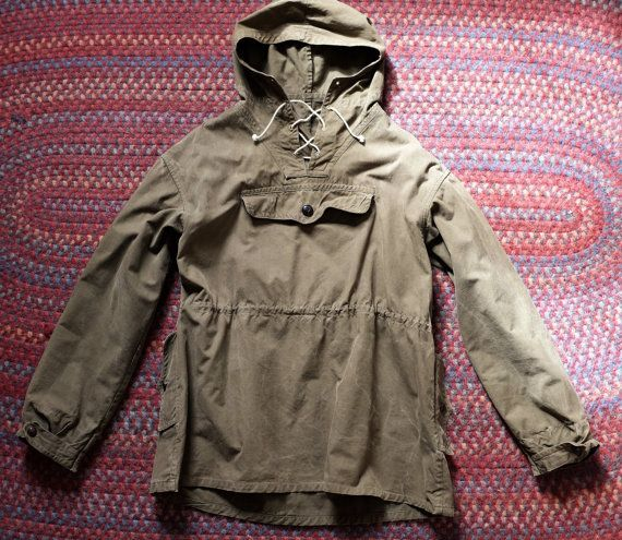 Army Military VIntage Pullover Anorak Smock Jacket Olive Canvas ...