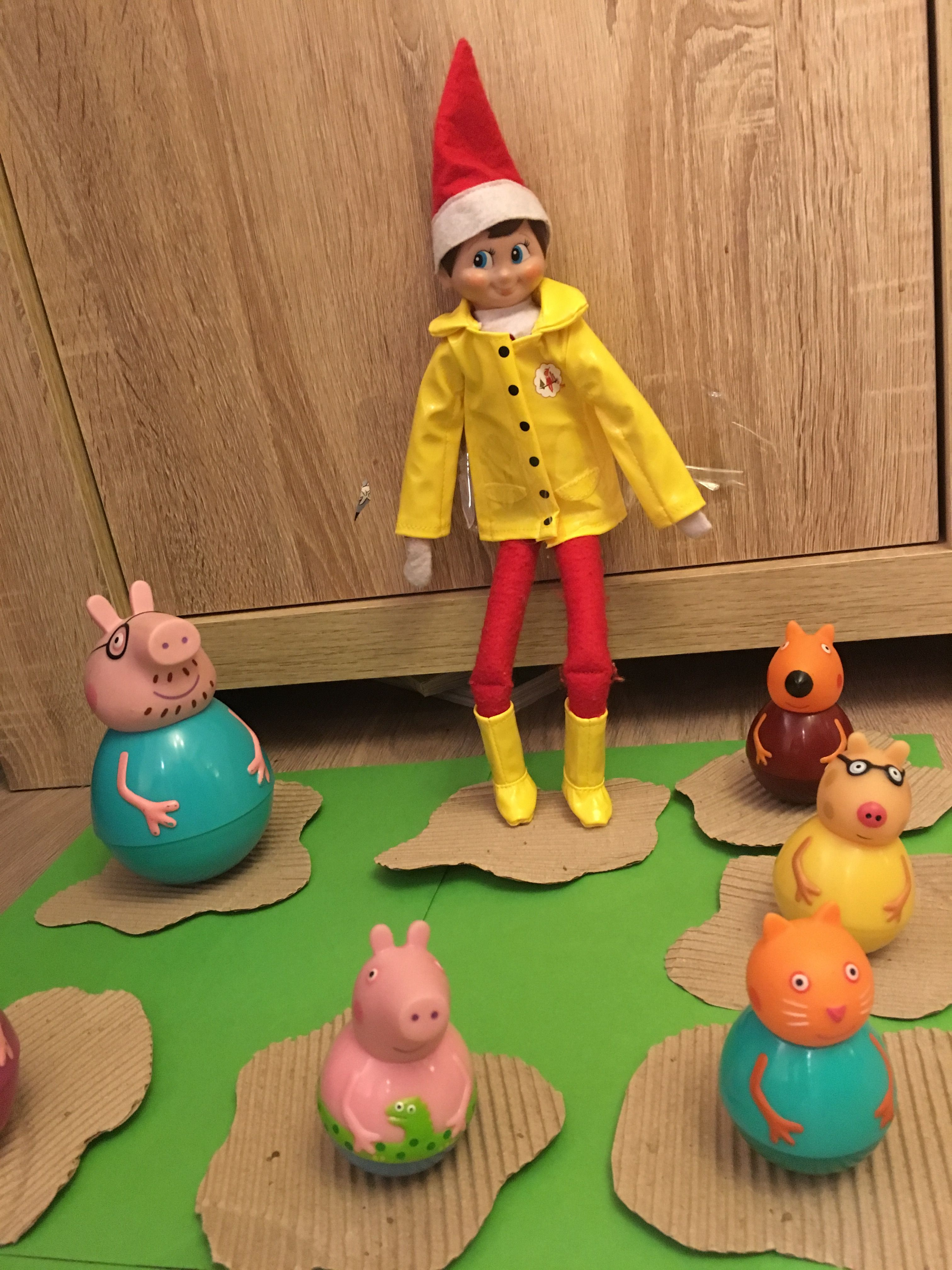 Elf on the shelf has gone jumping in muddy puddles with Peppa Pig and friends