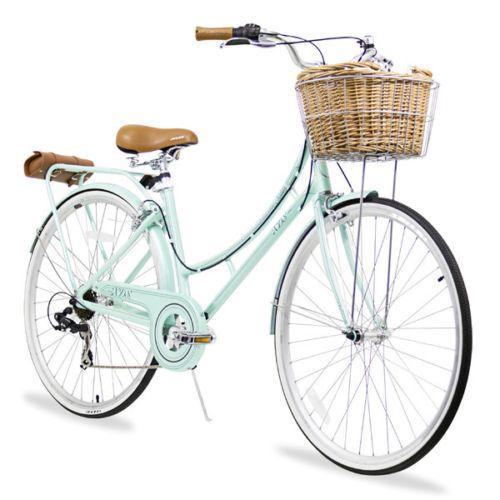 27 Womens Cruiser Bike With Basket Rack And Pouch 7 Speed 17 Frame Mint Green Cruiser Bike Basket Cruiser Bike Bike Style