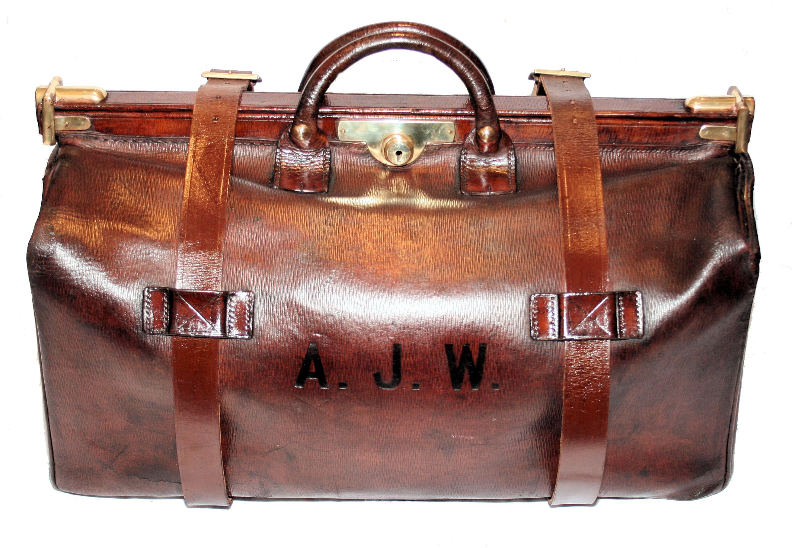 impressive large vintage leather gladstone bag with brass trims and lock and dating back to the 1930s from angell antiques [ 2624 x 1816 Pixel ]