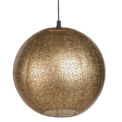 Suspension boule en métal ajouré doré chambre parents