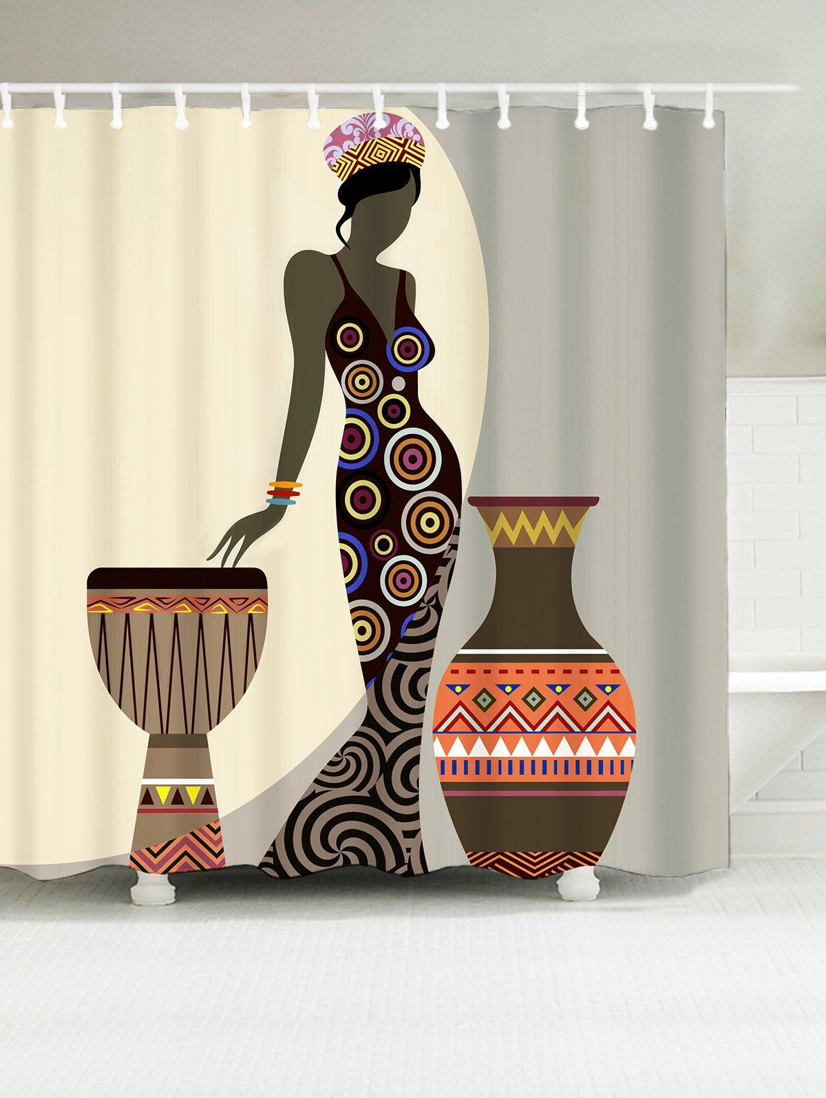 Beauty Geometric Waterproof African Shower Curtain 21 10 Usd African Shower Curtain Afrocentric Decor African Decor
