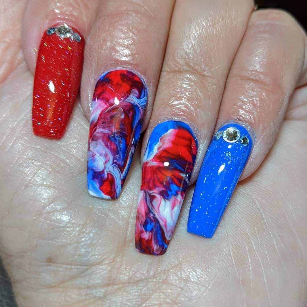 Pin By Jean On Red White Blue Nails In 2020 July Nails Summer Acrylic Nails Blue Acrylic Nails