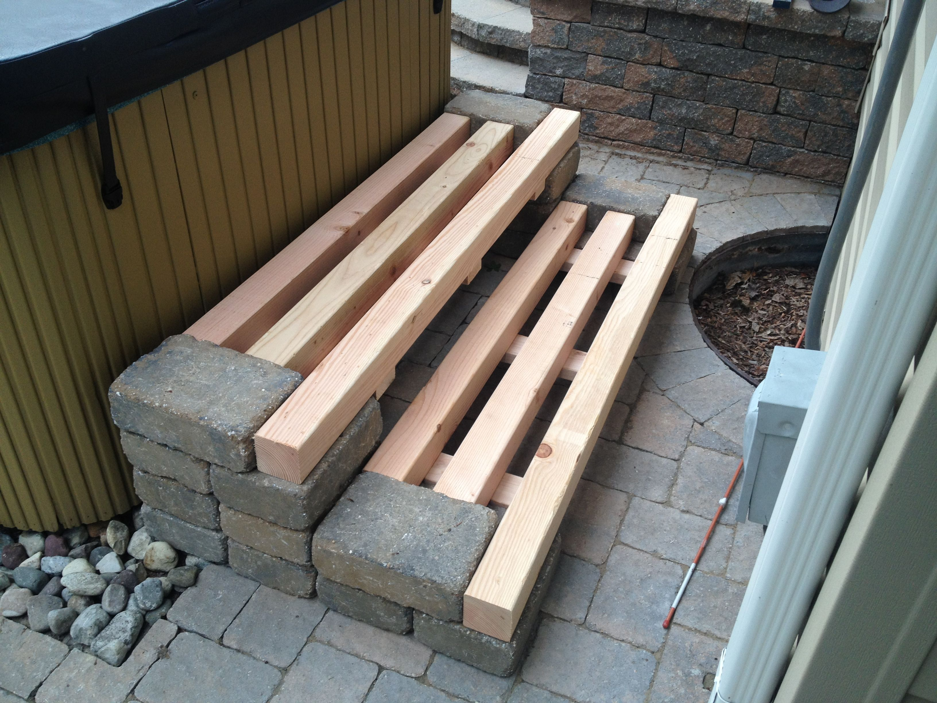 Patio Block And Wood Removable Steps Patio Blocks Hot Tub Steps Wood Steps