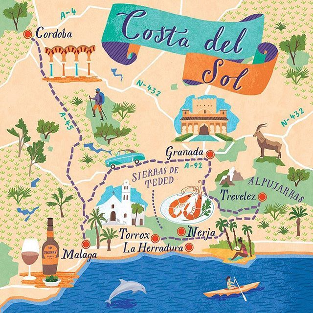 9f753f1d0e7 New map illustration of The Costa del Sol for Boundless Magazine. The map  features a Road trip route taking in some of the less trodden gems of the  area ...