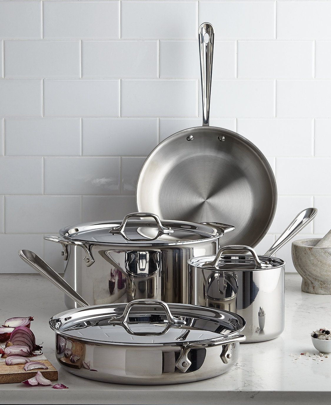 All Clad Stainless Steel 7 Pc Cookware Set Created For Macy S Reviews Cookware Sets Macy S In 2021 Cookware Set Cookware Set Stainless Steel Stainless Steel Cookware All clad 7 piece set