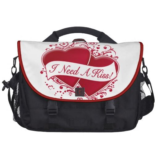 I Need A Kiss! Red Hearts Laptop Bags   •   This design is available on t-shirts, hats, mugs, buttons, key chains and much more   •   Please check out our others designs at: www.zazzle.com/ZuzusFunHouse*