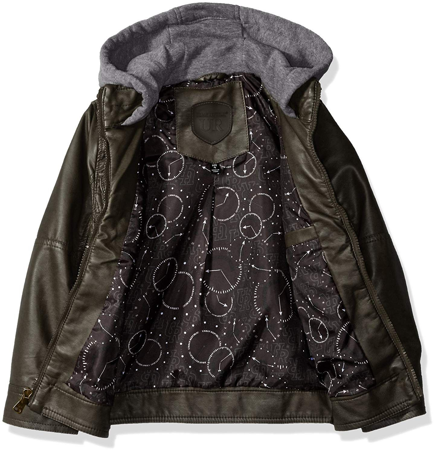 Boys' Faux Leather Jacket with Perforated Inserts and