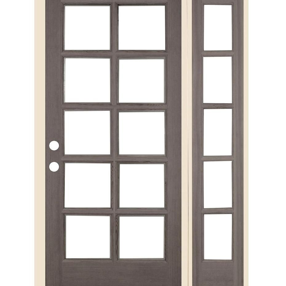 Krosswood Doors 50 In X 80 In French 10 Lite Grey Stain Left Handinswing Douglas Fir Prehung Front Door Right Sidel In 2020 Front Entry Doors Fir Wood Douglas Fir Wood