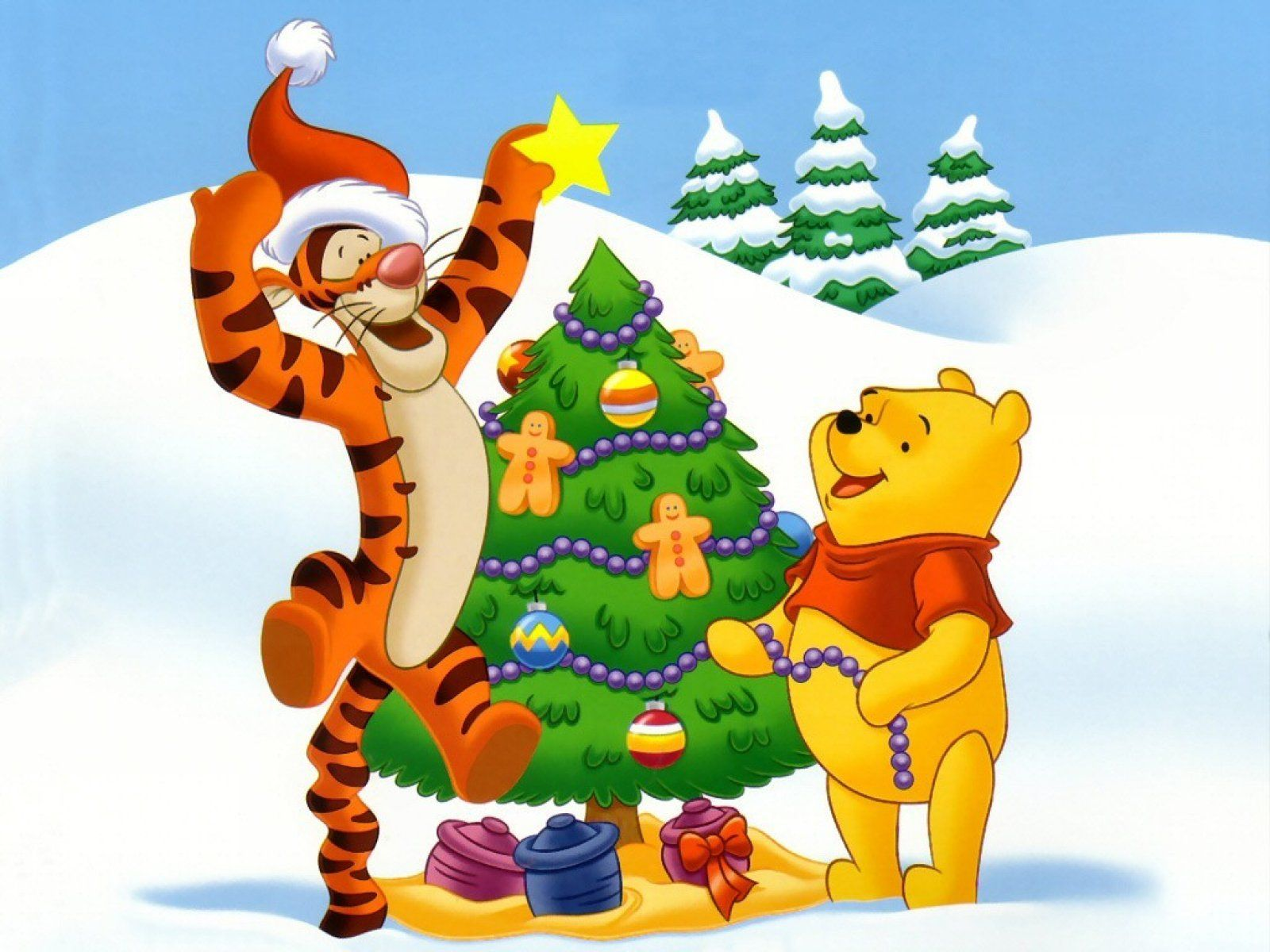 Christmas Tree For Winnie The Pooh Winnie The Pooh Christmas Christmas Cartoon Pictures Animated Christmas