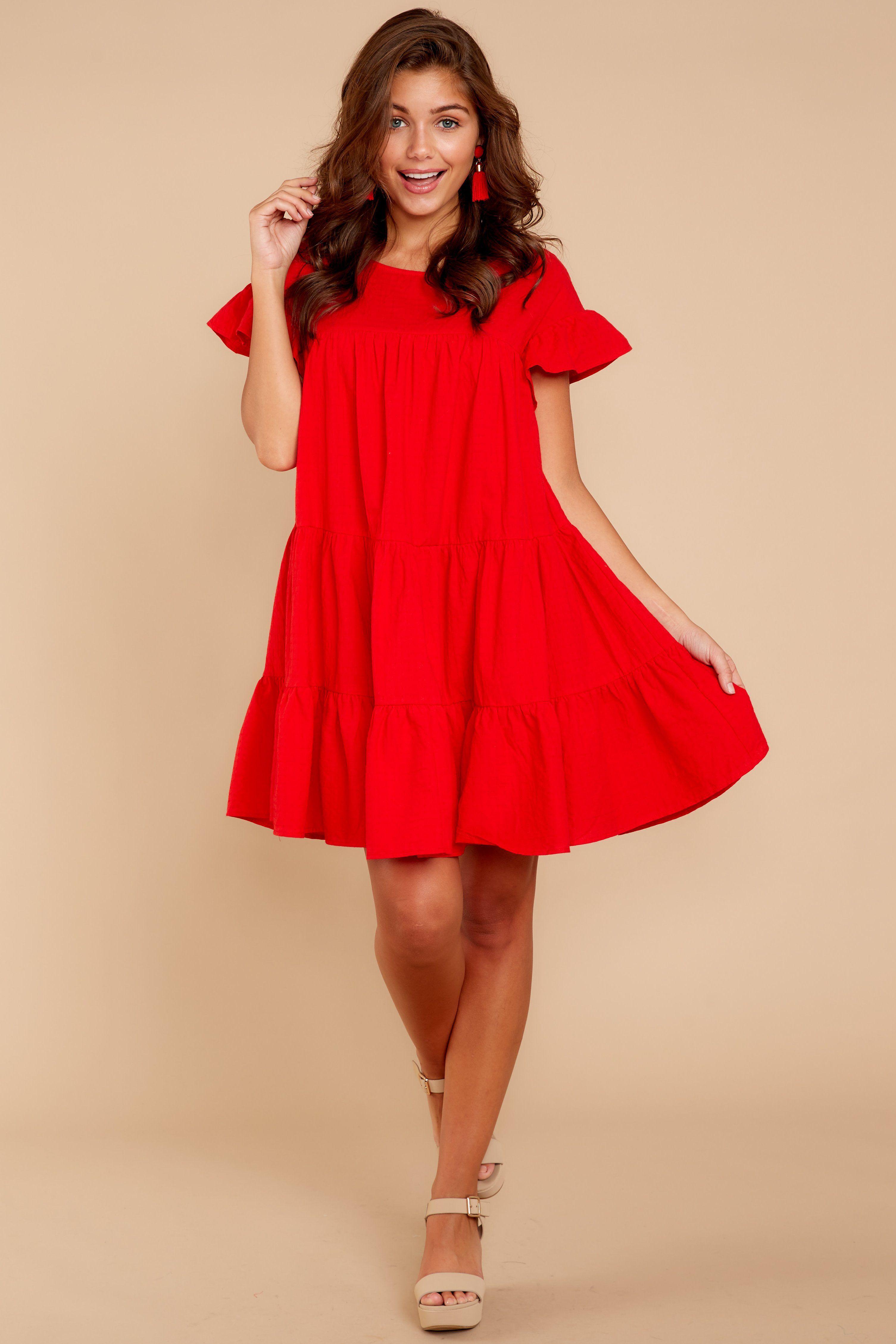 8537dcb64827 Chic Red Shift Dress - Short Ruffled Babydoll Dress - Dress - $49.00 – Red  Dress Boutique