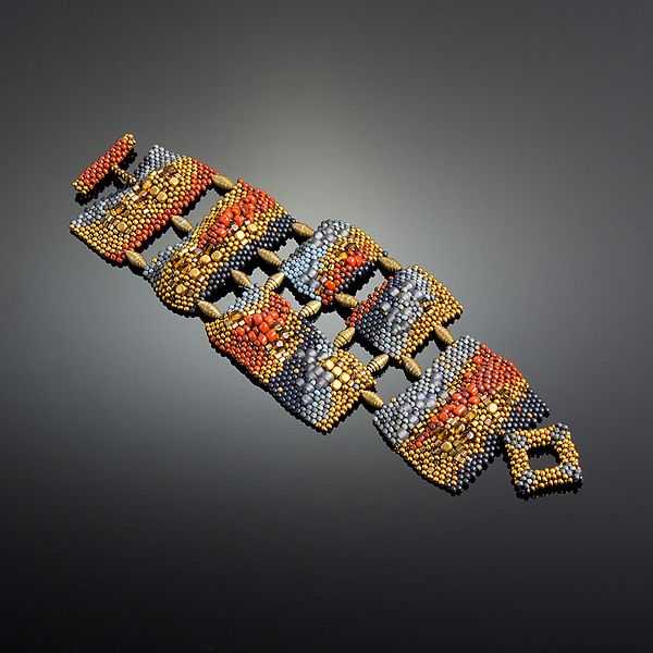 d5f4054e8d Flux Panel Cuff by Julie Powell  One of a Kind Beaded Bracelet available at  www.artfulhome.com