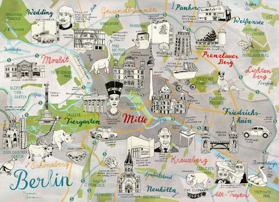 Berlin Map Berlin Print Berlin Art Berlin Illustrated Map
