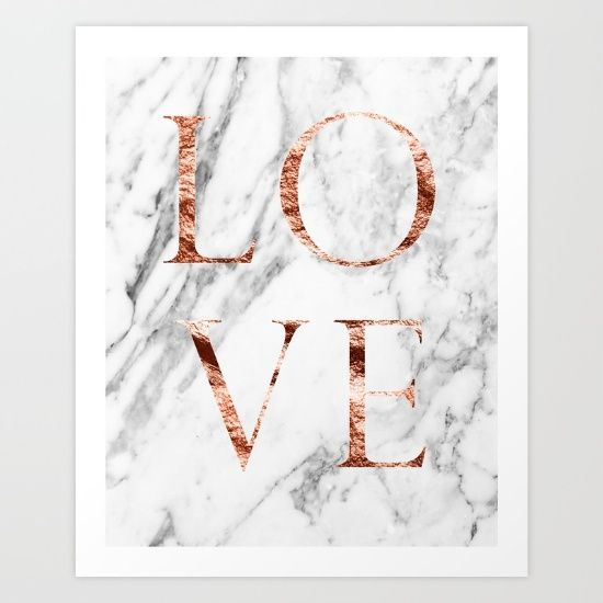 Marble And Rose Gold Love Print And Other Products With Images