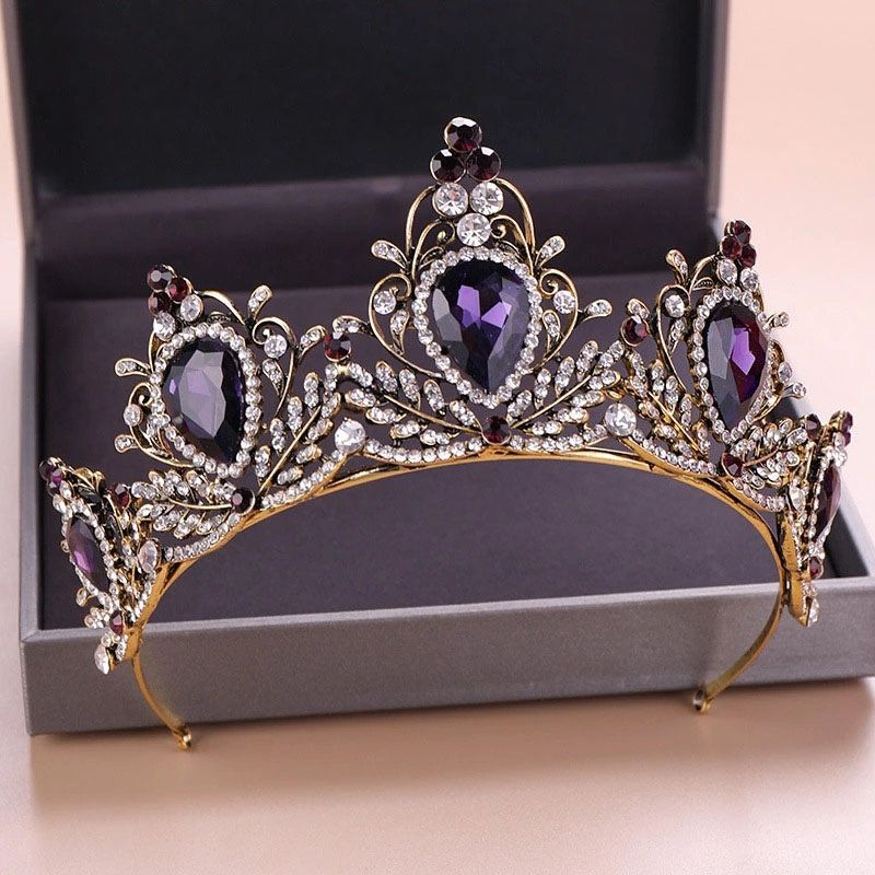 Vintage Charming Purple Crystal Crown Tiaras Headbands Magnificent Rhinestone Diadem Bridal Wedding Hair Accessories,Bridesmaids gifts