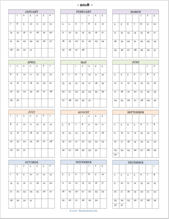 picture relating to Printable Year Calendar referred to as Absolutely free printable 2018 12 months-at-a-seem calendar Business