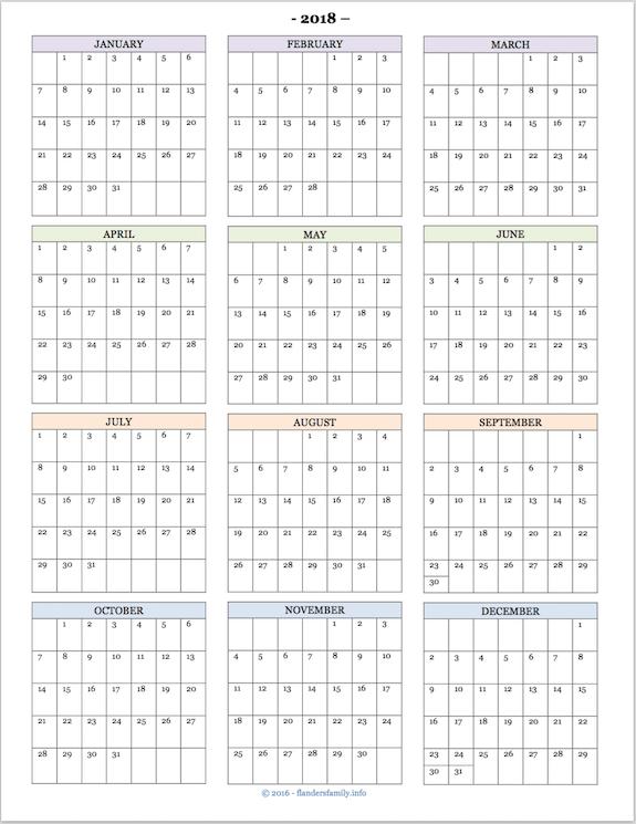 Free Printable  YearAtAGlance Calendar  Homeschool