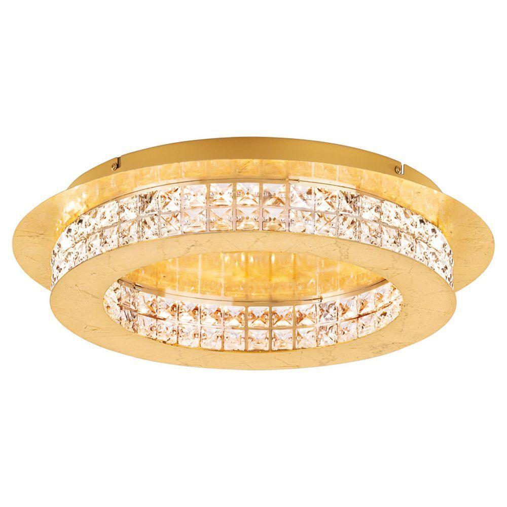 LED Deckenleuchte Principe in Gold mit Kristallen 500 mm