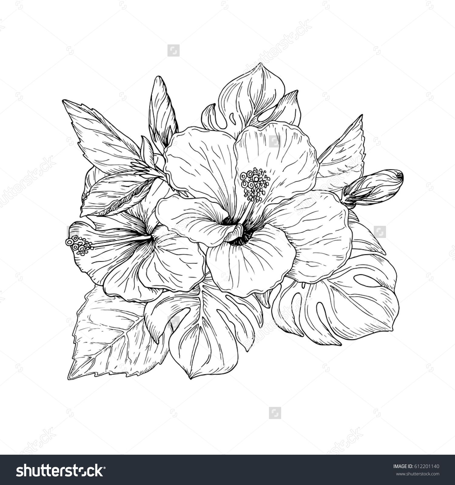 Beautiful Floral Hand Drawn Sketch Tropical Bouquet Bunch Of Hibiscus Flowers And Palm Leaves Arrangeme Hibiscus Flower Drawing Flower Sketches Flower Drawing