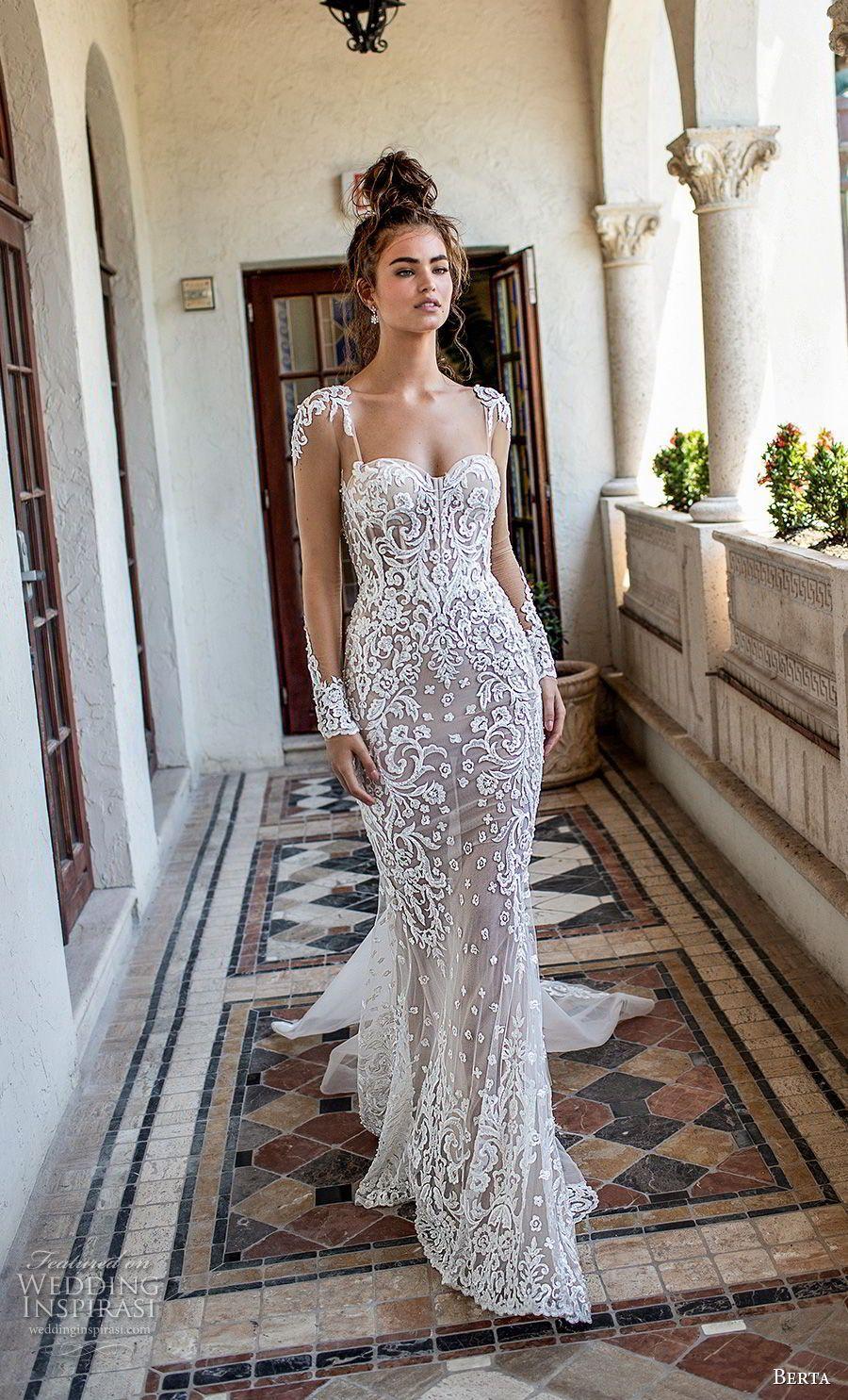 33876abba22 berta spring 2019 bridal long sleeves sweetheart neckline full  embellishment elegant glamorous fit and flare wedding dress sheer button  back chapel train ...