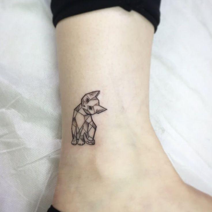 Cooltop Geometric Tattoo Geometric Cat Original Design And