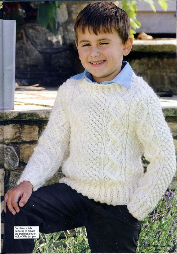 Boys Aran Jumper / Sweater Knitting Pattern. By Mary Hickmott. Chest ...