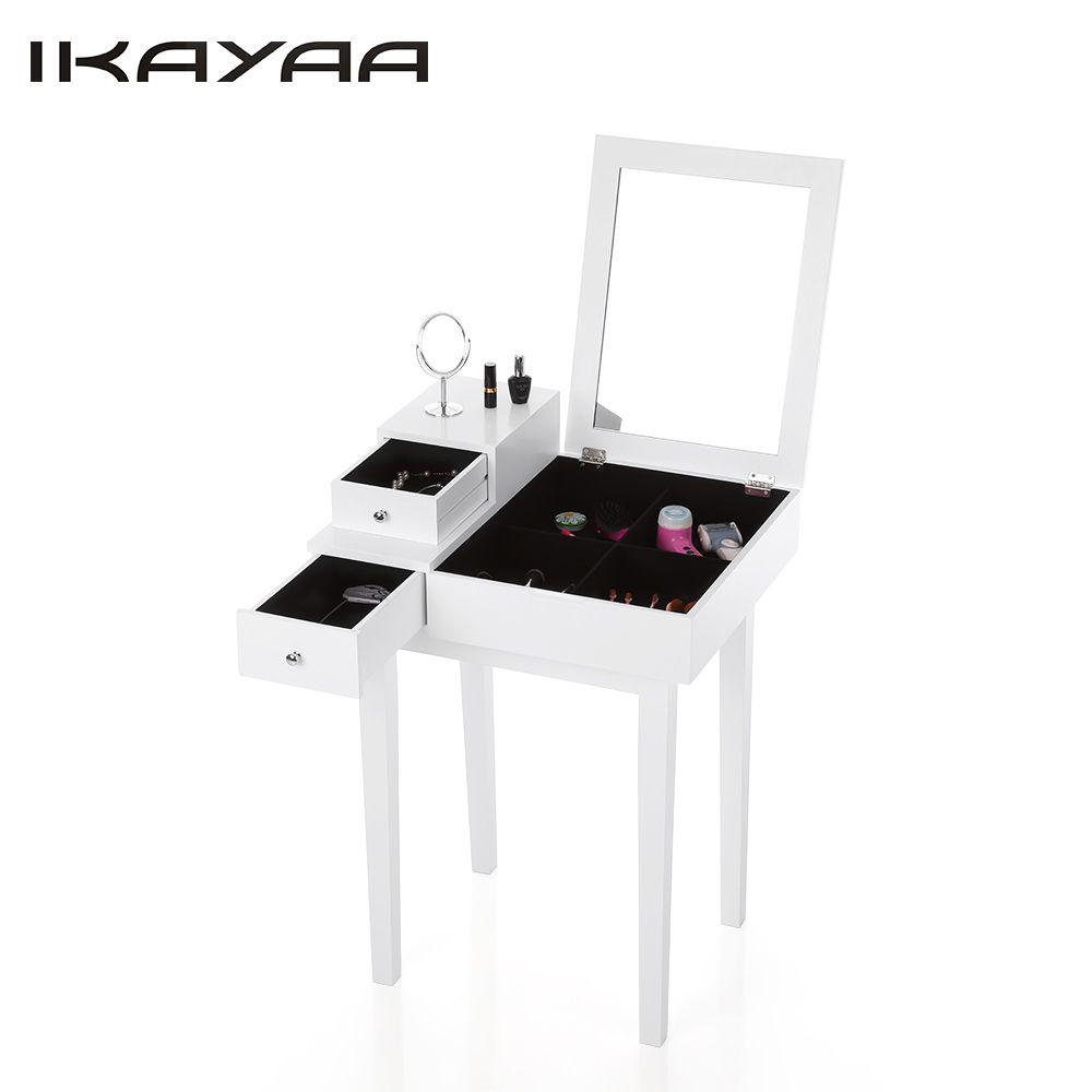 iKayaa US Stock Bedroom Vanity Table Make Up Dressing Table W
