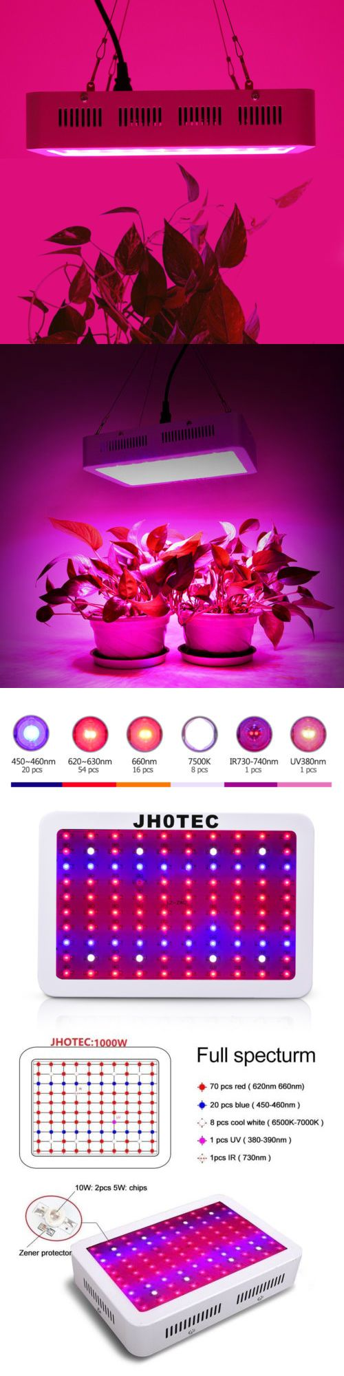 Grow Light Bulbs 178988 1000w Led Grow Light Lamp Full Spectrum Hydroponic Greenhouse Plant Bloom Jhote Buy It Led Grow Lights Grow Lights Grow Light Bulbs