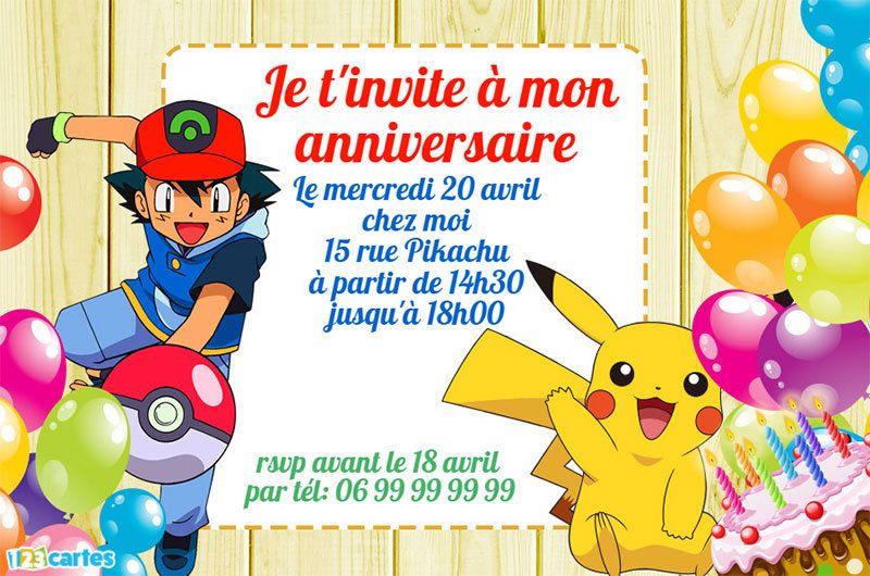 Invitation Anniversaire Sasha Et La Pokeball A Personnaliser En Ligne Et A Invitation Anniversaire Garcon Invitation Anniversaire Carte D Anniversaire Pokemon
