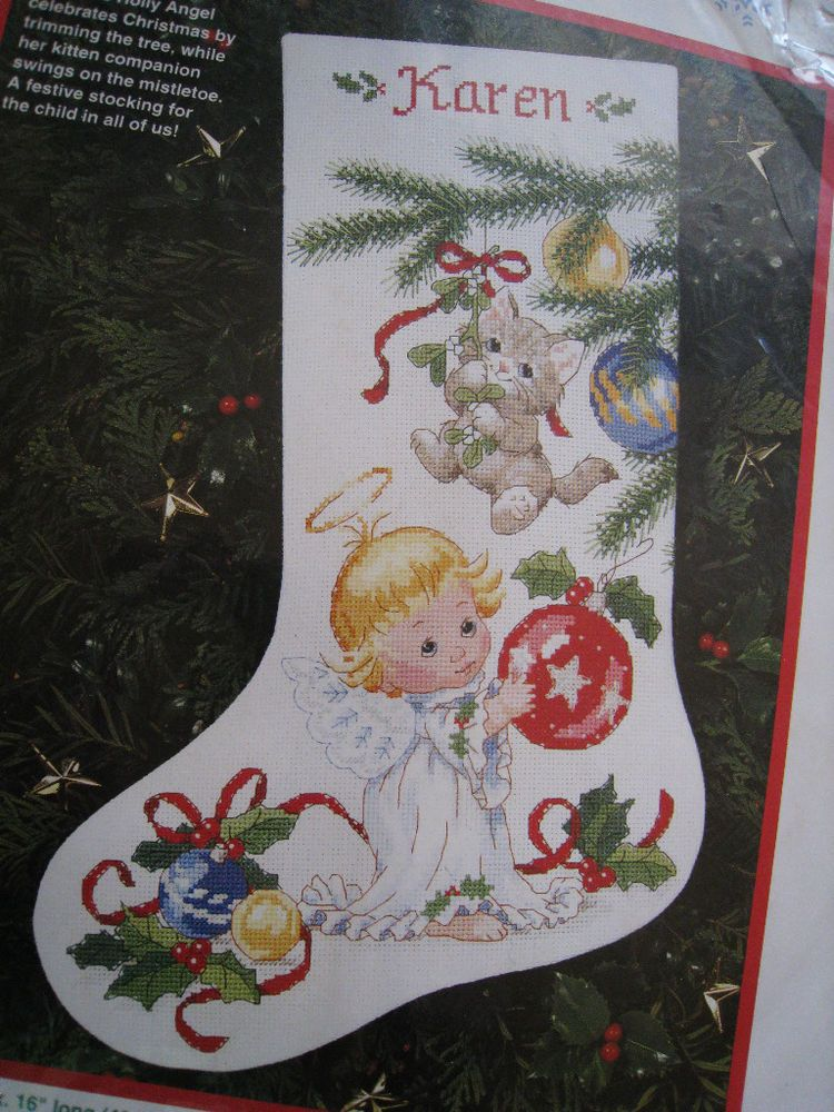 Christmas Counted Cross Stitch Stocking Kit,HOLLY ANGEL AND KITTEN ...