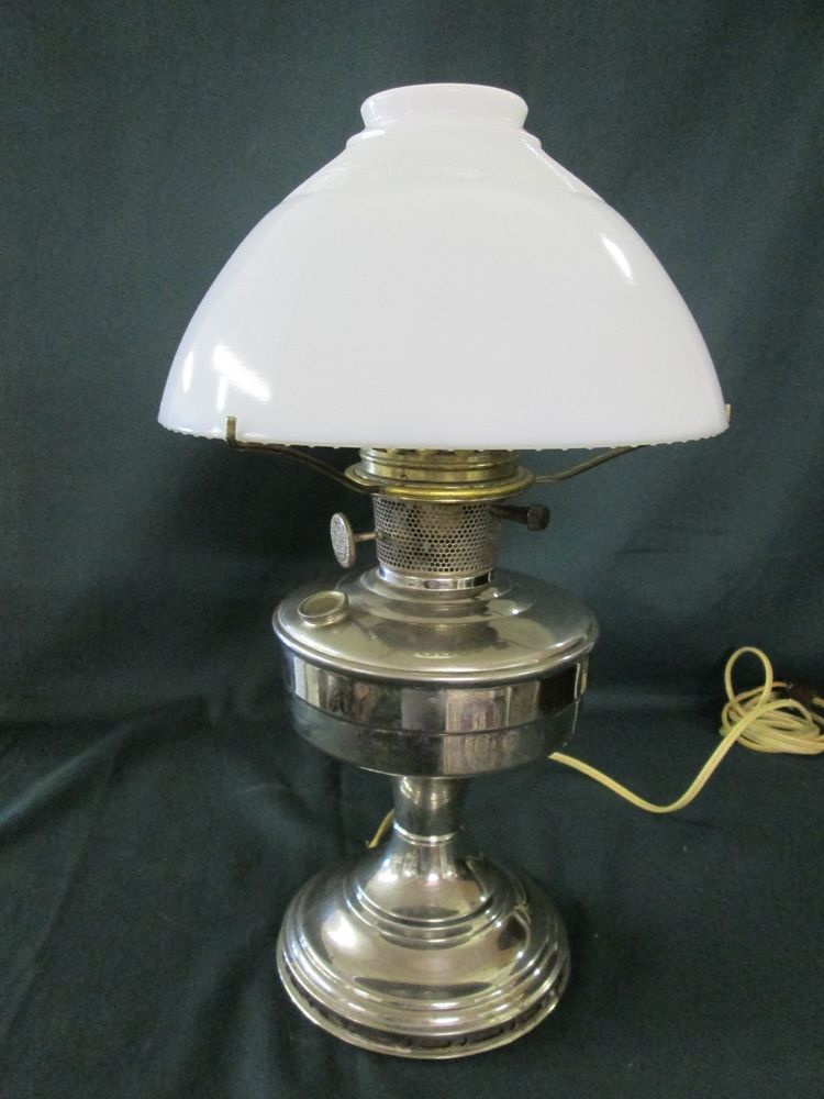 Alladin oil lamp converted to electric nickel plated with milk glass alladin oil lamp converted to electric nickel plated with milk glass shade globe aloadofball Gallery